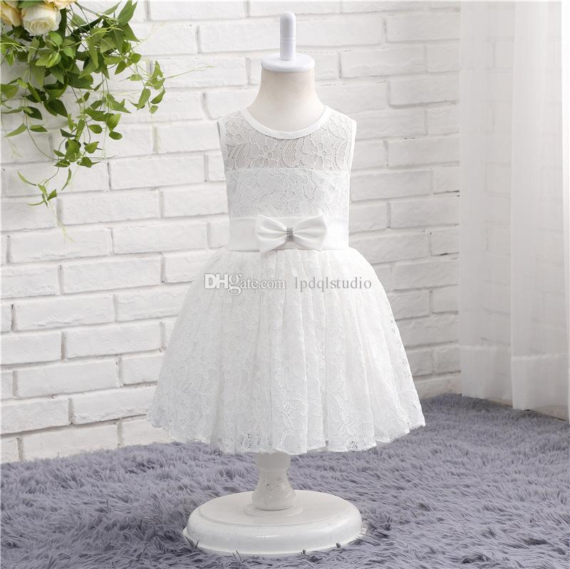 bbe33218a74c7 Ivory,White Lace Flower Girls Dresses Tea Length Summer Garden Style Lace  Girls' Party Dresses Cheap New Arrival Free Shipping