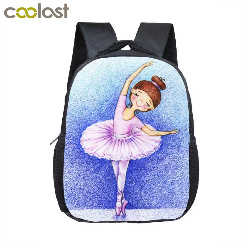 Cartoon Ballet Dancing Girl Small Backpack Children School Bags