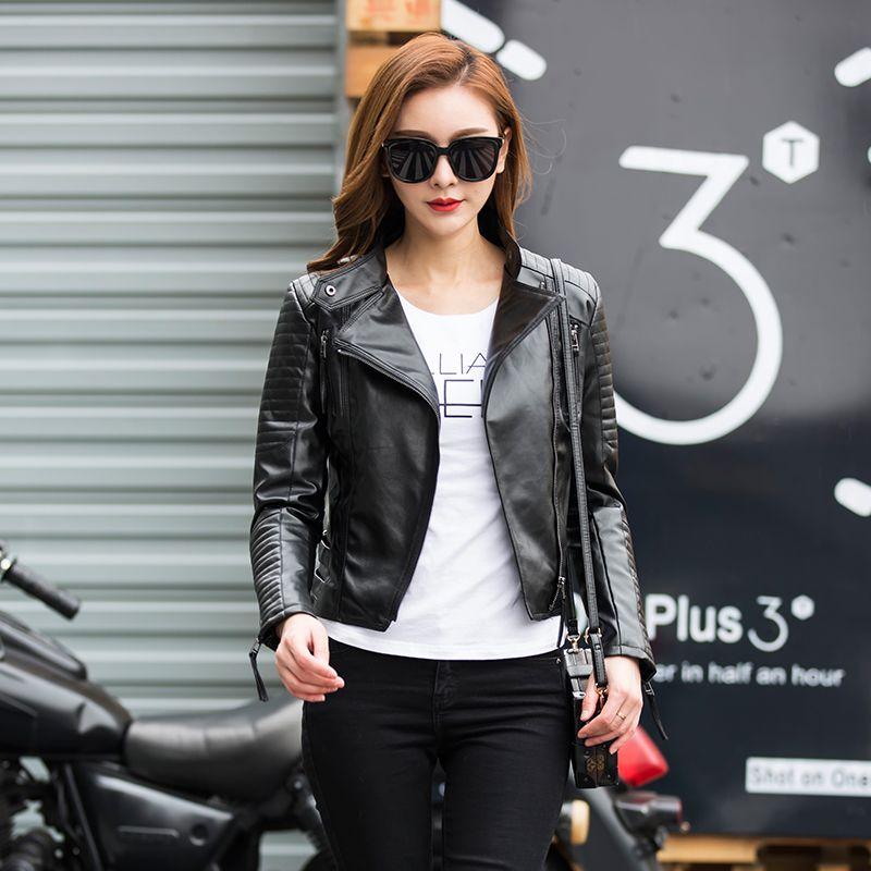 Autumn Women Punk Leather Jacket Soft PU Faux Leather Female Jackets Basic Bomber Leather Coats