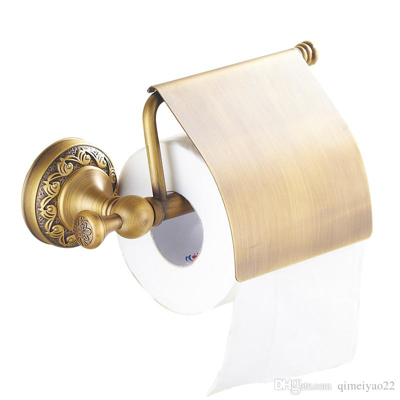 Antique Brass Paper Towel Rack European Style Vintage Paper Holder Toilet Paper Tissue Box Bathroom Accessories Roller Holders