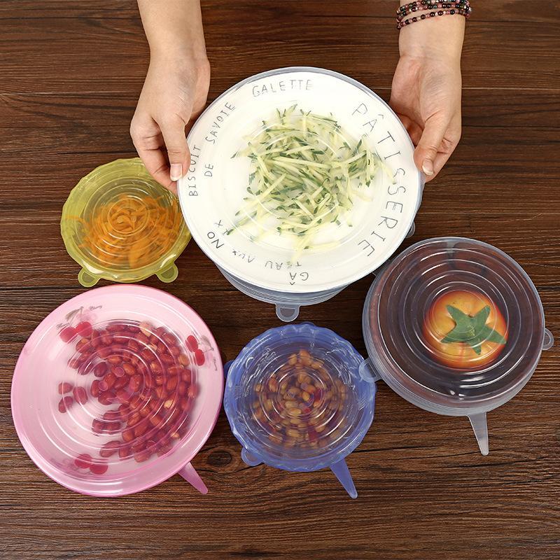 سيليكون تمتد شفط وعاء اغطية أدوات المطبخ 6 قطعة / المجموعة الغذاء الصف الطازجة حفظ التفاف ختم غطاء عموم غطاء الملحقات HH7-1057