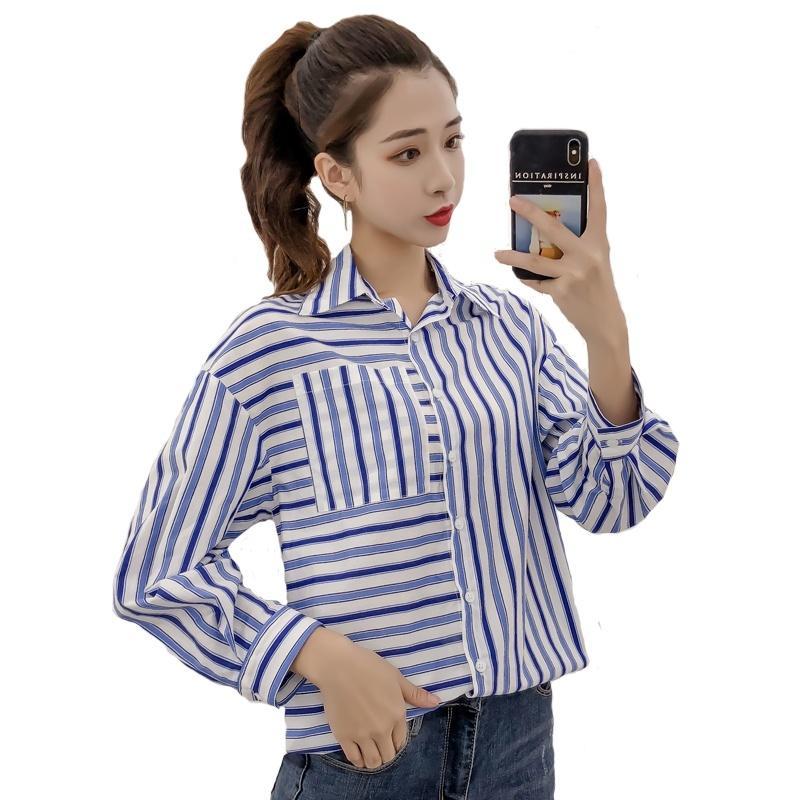 Taille À La Mode Automne Femmes Plus Manches Chemise Coréen Rayé Blouses Shein Femme Longues Impression Vêtements Couture Lâche Top wiZOPuTkXl