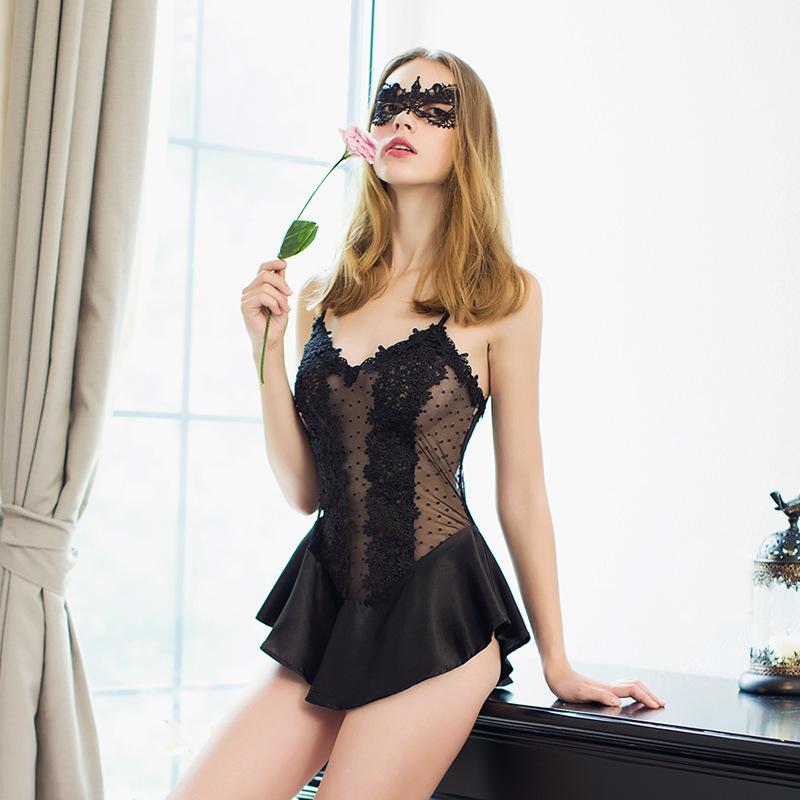 87a36d9bc075f5 Transparente Perspectiva Sabor Pijama Feminino Verão Sexy Lace Conjoined /  Dividido Corpo A928