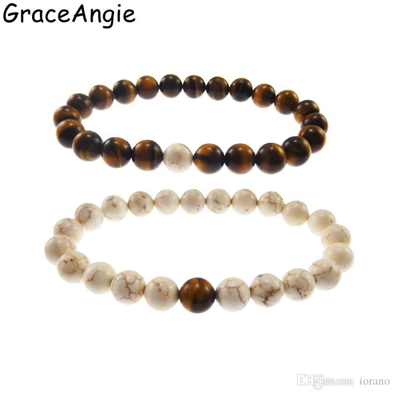 d7aca98489 GraceAngie Natural Stone Fashion Distance Bracelets For Couple Tiger Eye  Stone Buddha Strand Bracelet Men Women Gift Cool Bracelets for Strand  Bracelets ...