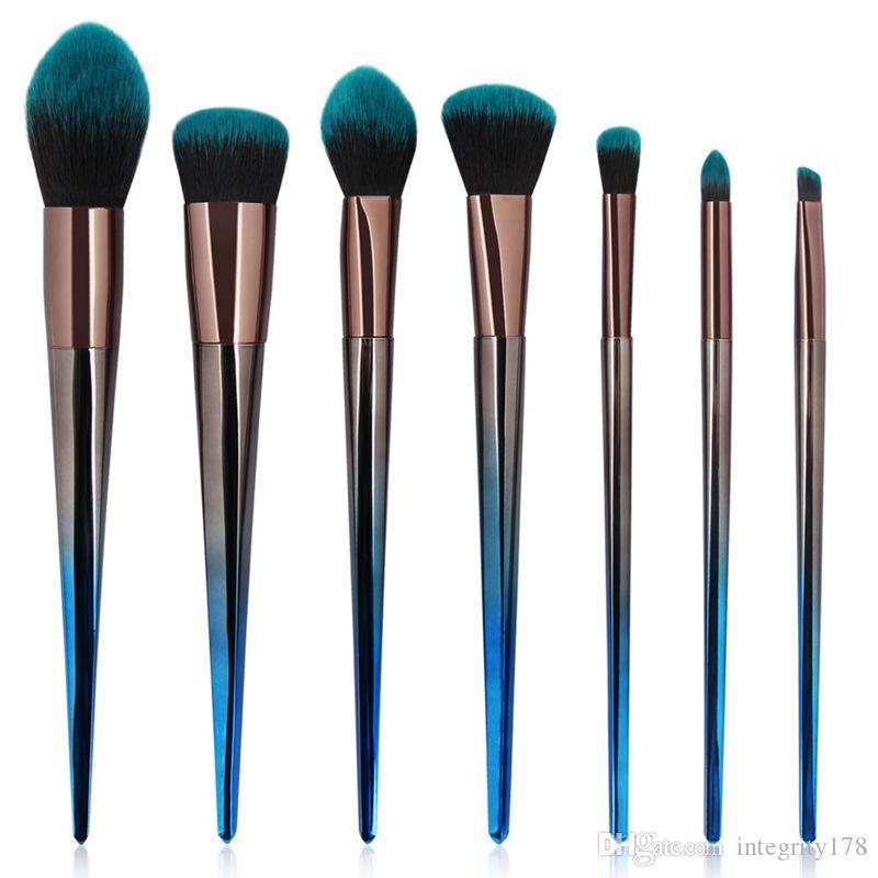 MAANGE diamante pinceles de maquillaje belleza azul cepillo cosmético maquillaje herramientas belleza contorno corrector en polvo cepillo de la fundación