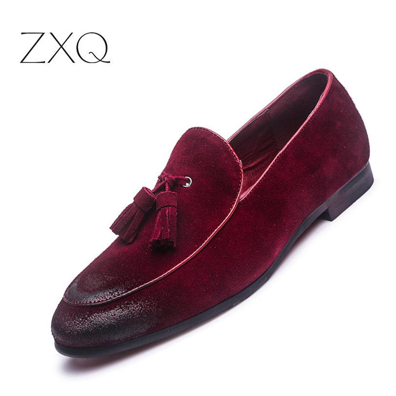 New Fashion Suede Leather Loafers Men s Flats Tassel Retro Slip-On ... 318a922c8122