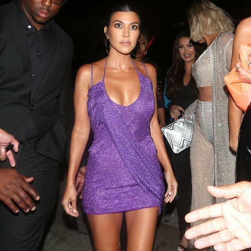 f1354ab2e5f Acheter Ohvera Kourtney Kardashian Halter Paillettes Robes De Soirée Femmes  Spaghetti Strap Mini Robe D été Dos Nu Moulante Sexy Robe 2018 De  28.56 Du  ...