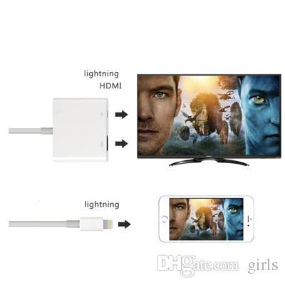 NEW Lightning Digital AV Adapter Apple iphone HDMI Adapter Cable White Package High Quality free DHL shipping