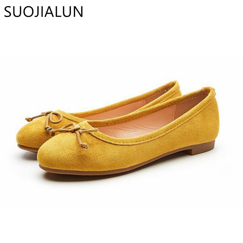 5d420d166c6 SUOJIALUN 2018 Hot Sale Women Ballet Flat Shoes Soft Suede Leather ...
