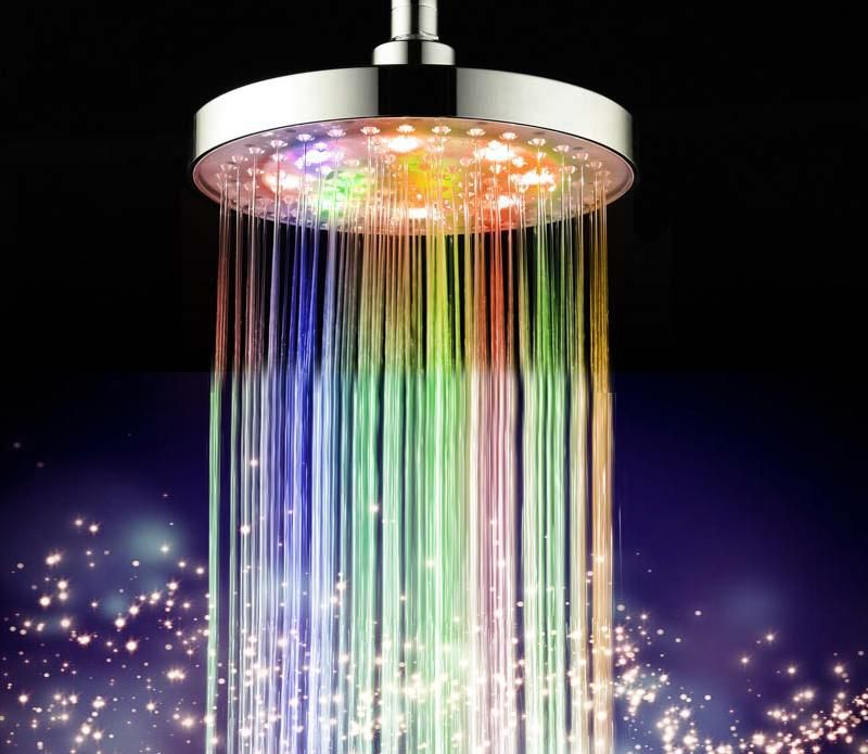 2018 Automatic Changing 8 Inch Roundness Bathroom Led Light Rain Top ...