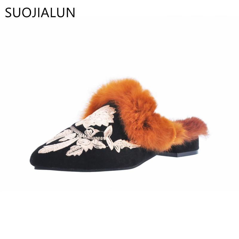 SUOJIALUN Winter Brand Fur Shoes Women Fur Slippers Embroidery Half Slippers  Shoes Woman Pointed Toe Low Heels Mules Sandals Womens Fur Slippers Fur ... c6f499b7bcd7