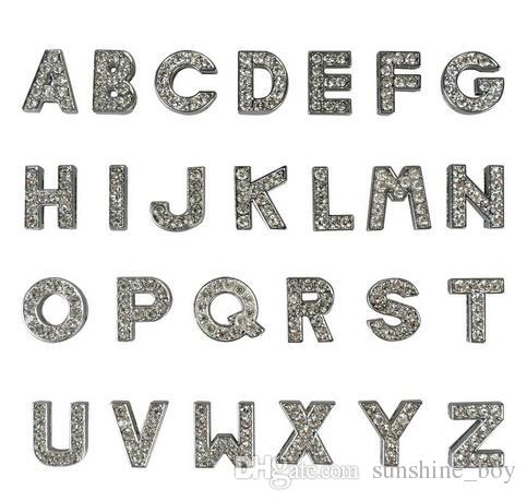 2018 Hot sales Nice 26 Letters DIY slide Letters with rhinestone for Dog Collars Leashes 10mm pet dog collars letters