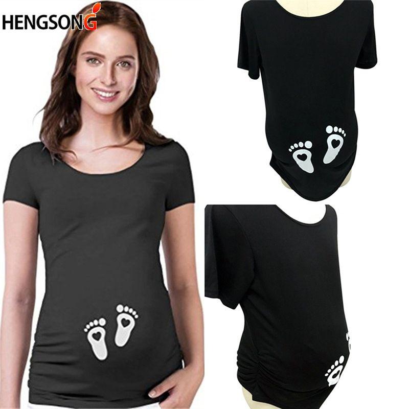 06b342174 Compre Verano Mujeres Embarazadas Camisetas De Manga Corta Camisetas De  Maternidad Ropa Tops De Enfermería Camisetas Embarazo Imprimir Camisas  Sueltas A ...