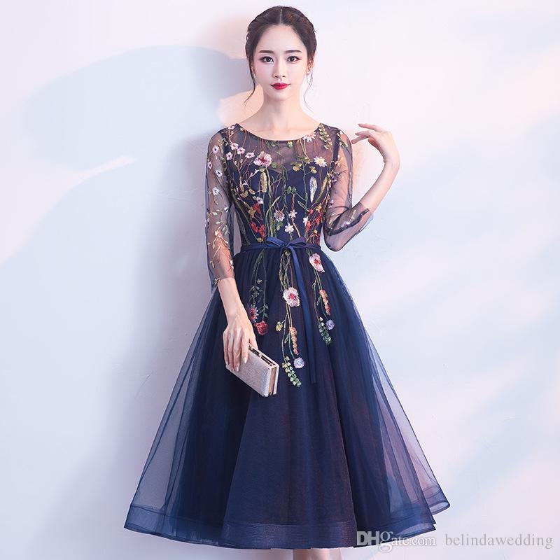 16f2480855 Vestidos Sheer High Neck Lace Evening Dresses Navy Blue Illusion 3 4  Sleeves Prom Dresses Appliques Formal Party Gowns Dress Shop Formal Dresses  Online From ...