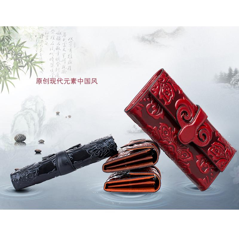 Chinese style women wallet Genuine Leather lady purse women card holder wallet female Clutch bag mobile phone bag coin purse