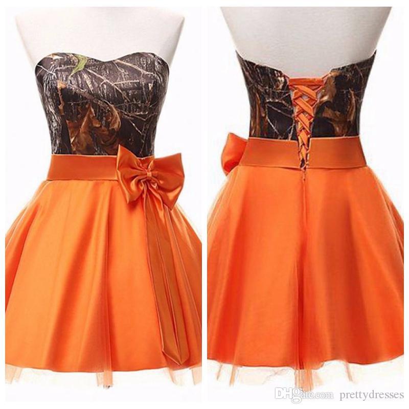 2018 reale fotos schatz camo a-linie brautjungfern kleider kurze orange schnüren zurück vestidos de brautjungfer party kleider honor of maid