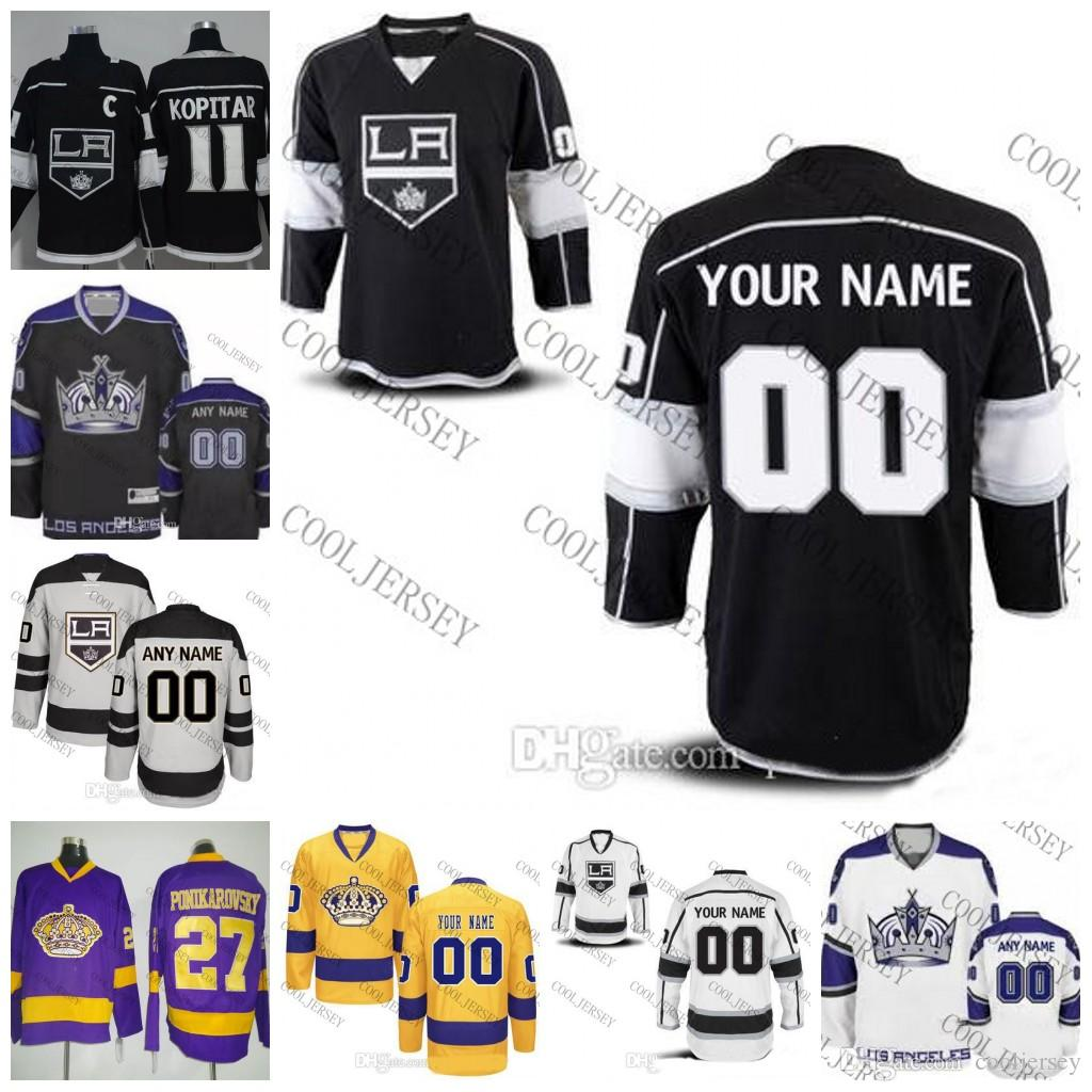 best loved a128c 8824d 2018 Custom Los Angeles Kings Hockey 2017-18 OLD BRAND mens womens youth  Kings crown Gray Purple Black White gold Jerseys Any Name Number