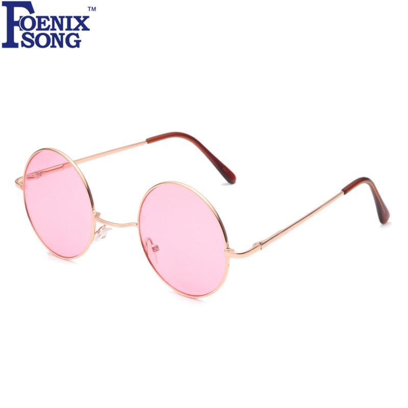 ad6374d0a Compre FOENIXSONG Óculos De Sol Das Mulheres Meninas Nova Marca Designer  Homens Óculos De Sol Redondo Quadro Oculos De Sol Rosa Espelho Eyeglas De  ...