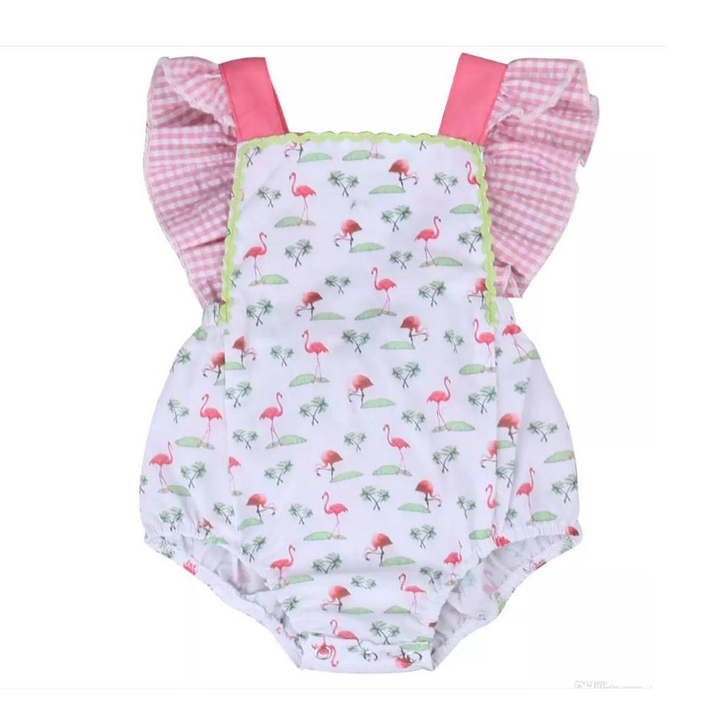 0f9c07ffa6be 2019 Girls Red Crowned Crane Romper Cartoon Animal Digital Print Lattice Baby  Jumpsuit Vest Flower Buckles Summer 6 24M From Tiangeltg