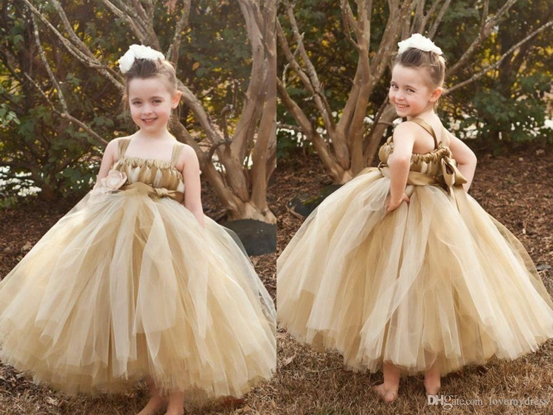 2d3a1578ed5 2019 Champagne Ball Gown Flower Girl Dress Cheap With Straps Square Neck  Tulle Handmade Flowers First Communion Party Dress For Kids Girls Big  Dresses Black ...