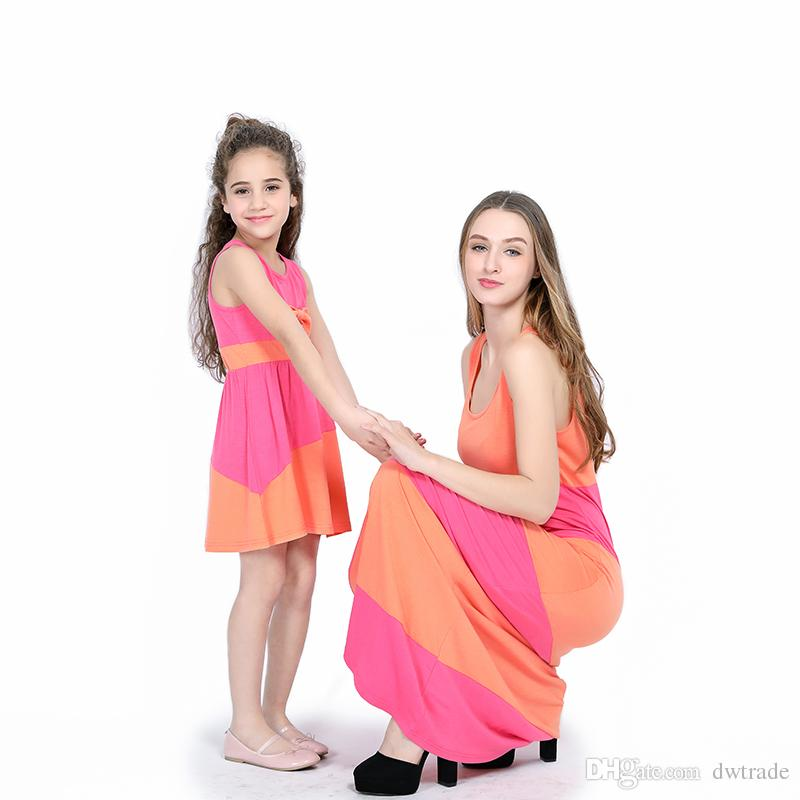 4989db468 ... Sleeveless Long Dresses Vacation Beach Cloting Mommy And Me Family Matching  Outfits M051 Mother Daughter Matching Dresses Family Matching Outfit Girls  ...