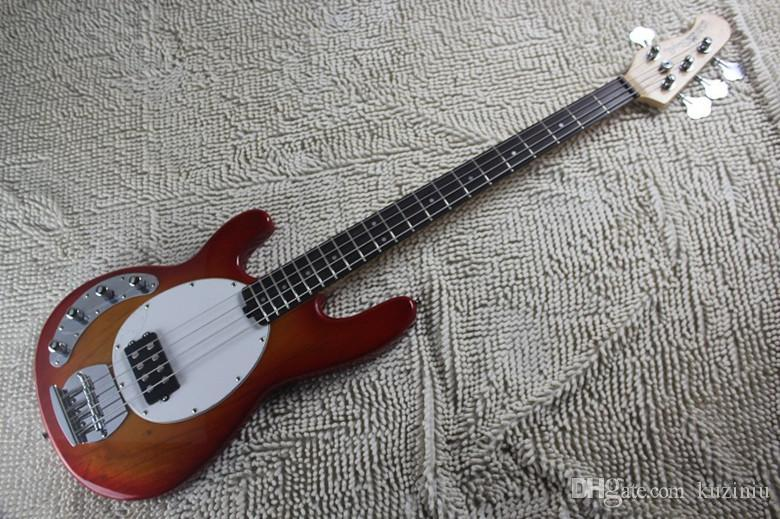 Left Handed High Quality Cherry Red Music Man Ernie Ball Sting Ray 4 String Electric Bass Guitar with active pickups 9V battery