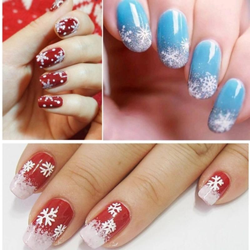 3d Cute Nail Art Nail Stickers Decal Tips White Christmas Snowflake
