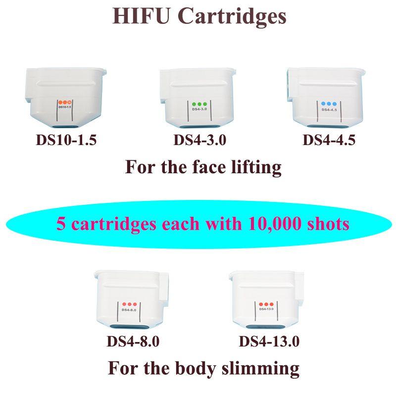 Máquina de ultrasonido portátil HIFU Rejuvenecimiento facial de la piel Dispositivo de lifting facial HIFU con 5 cartuchos de equipos de salón de belleza