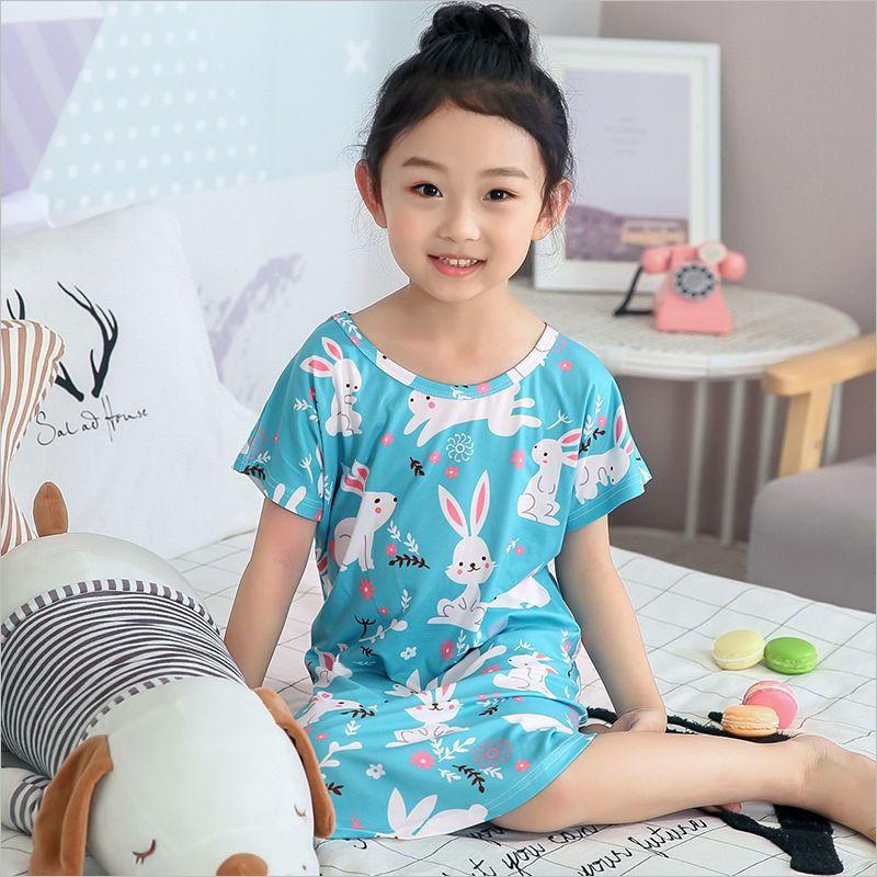 171b4a218e06 Summer Kids Cute Cartoon Pattern Rabbit Sleepwear Loungewear Short Sleeves  Cool Comfy SummerGirls Sizes 3 To 10 Girl Pajama Shorts Kids Personalized  ...