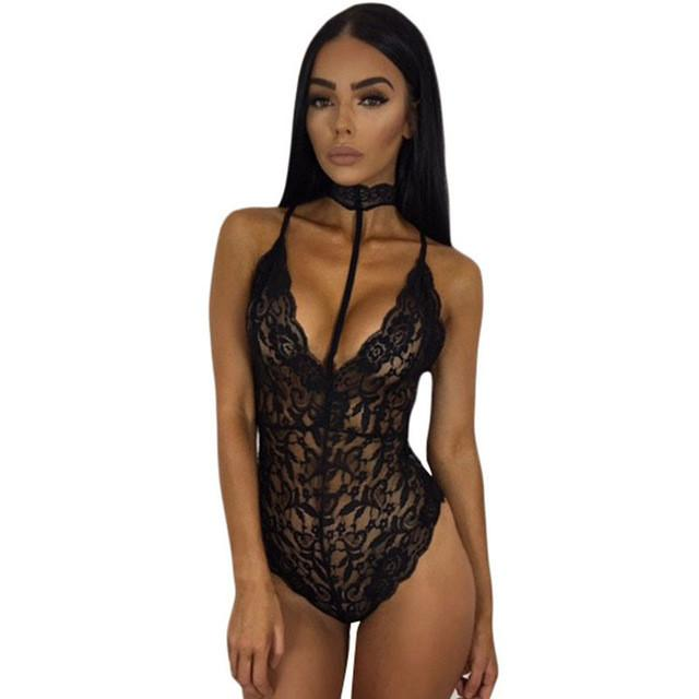 2019 Elegant Floral Red Lace Bodysuit Women Backless Deep V Neck Sexy  Bodysuit Bodycon Halter Sleeveless Jumpsuit Romper From Wangyicom bab62da81