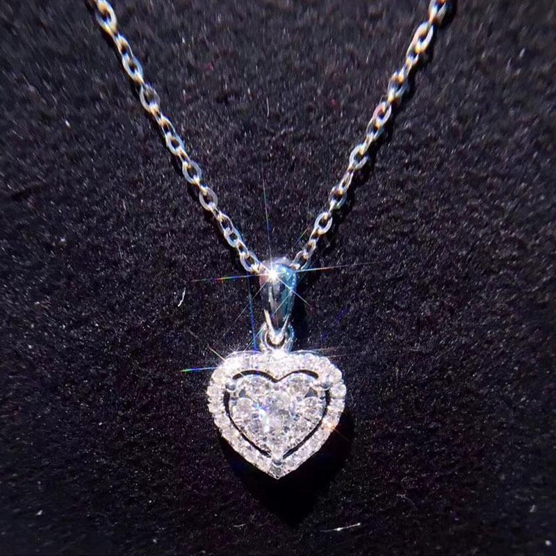 6e93579beec86 Compre ANI 18 K Ouro Branco AU750 Casamento Forma De Coração Pingente 0.228  Ct I J   SI Certificado Real Natural Diamante Mulheres Cadeia Colar S923 De  ...