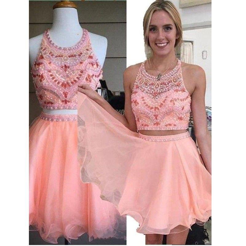 Tül A Hattı Mercan Kristaller İki Adet Parti Elbiseler Boncuk Mini Kırpma Üst Seksi Halter Homecoming Elbise vestido graduacion
