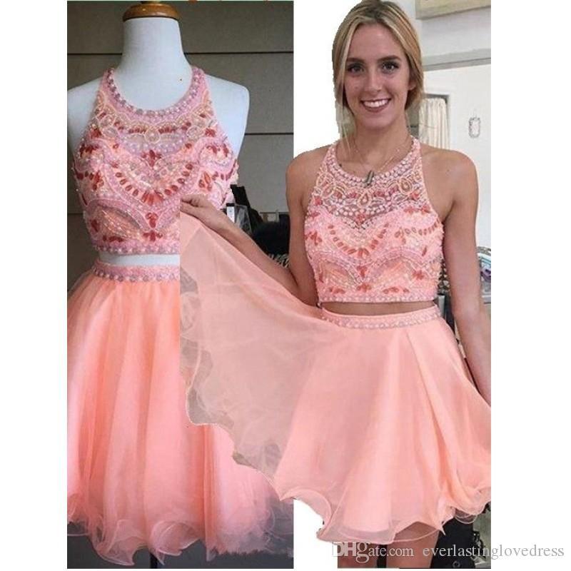 Tulle A Line Coral Crystals Two Piece Party Dresses Bordare Mini Crop Top Sexy Halter Homecoming Dress vestido graduacion