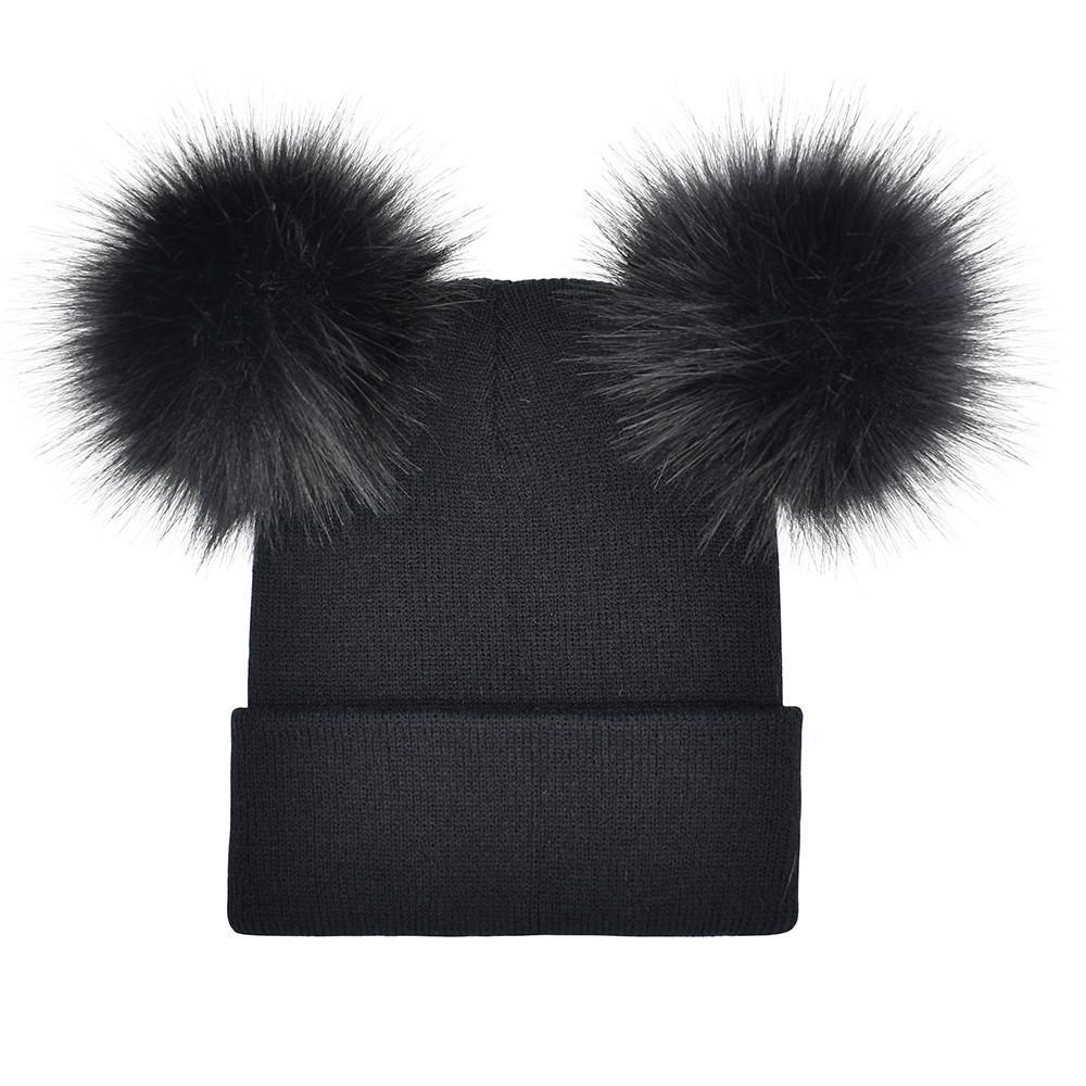 51030848e5d30 2019 2018 Women Faux Fur Pompom Hat Female Winter Warm Cap Knitted ...