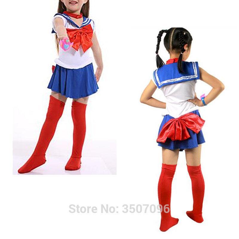 Los Ninos Sailor Moon Cosplay Japones Clasico Anime Usagi Crystal Halloween Ninas Del Nino Disfraces Conjunto Entero Gota Nave