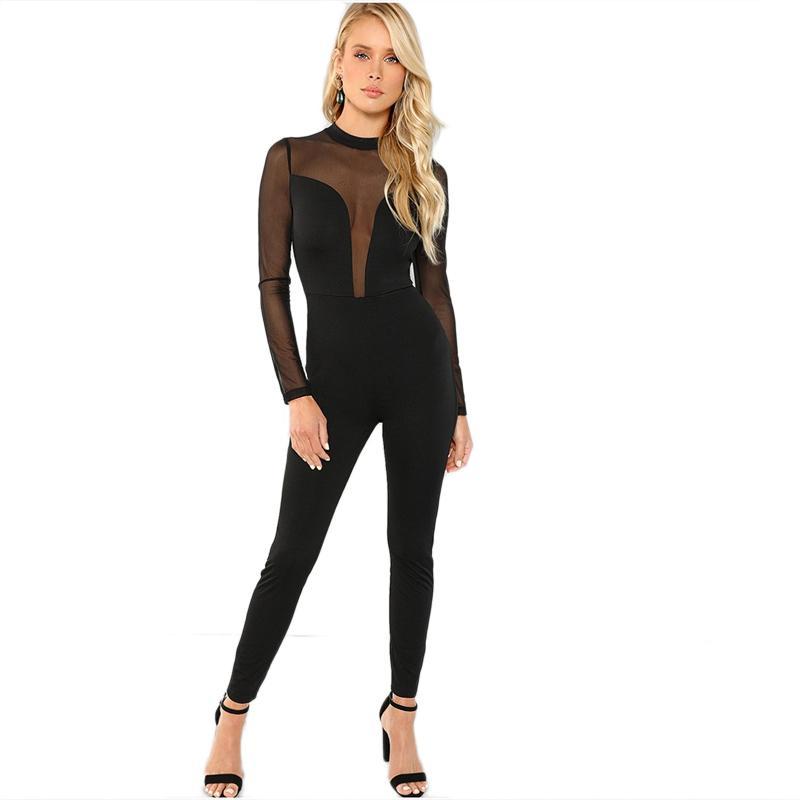 Шеин черная сетка контраст тощий комбинезон сексуальный шею равнина комбинезоны партии женщин с длинным рукавом осень минималистский комбинезон