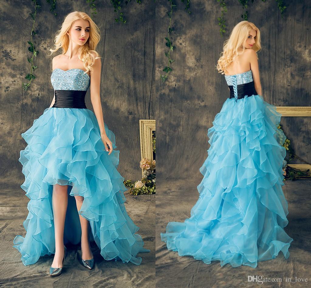 Blue High Low Prom Dresses Black Belt Sweetheart Sparkly Sequins ...
