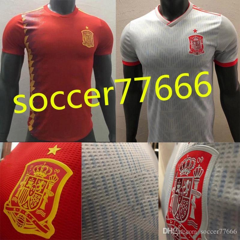 Player Version 2018 Spain Soccer Jerseys  7 MORATA   6 A.INIESTA  22 ... d7adfccca