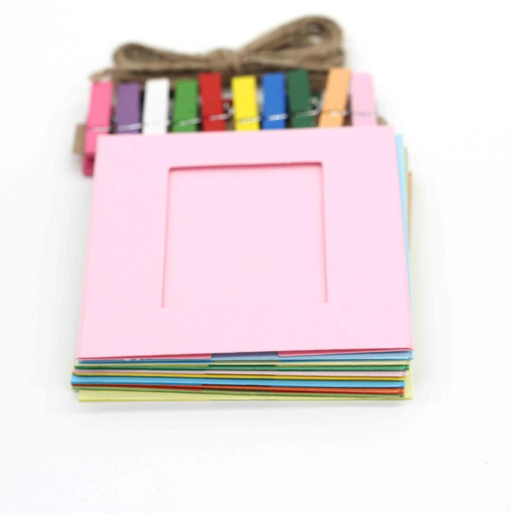 Newly Design 10pcs/lot DIY Photo Frame Paper Frames Solid Colorful Home Decorations July29