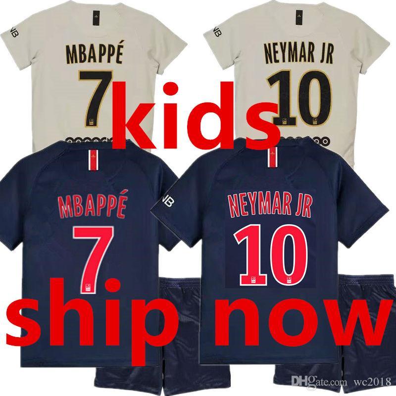 fa03ad91f744c Compre Nuevo 18 19 Psg 2019 Paris Saint Germain Camiseta De Fútbol MBAPPE  NEYMAR JR Kids Soccer Jersey Sets 2018 Niños Maillot Foot Equipe Enfants  Home Blue ...