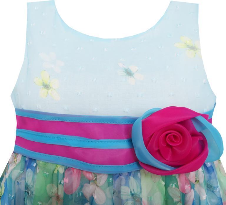 Солнечный мода девушки платье-line цветок подробно Роза полосатый Принцесса синий 2017 лето свадебные платья размер одежды 4-10