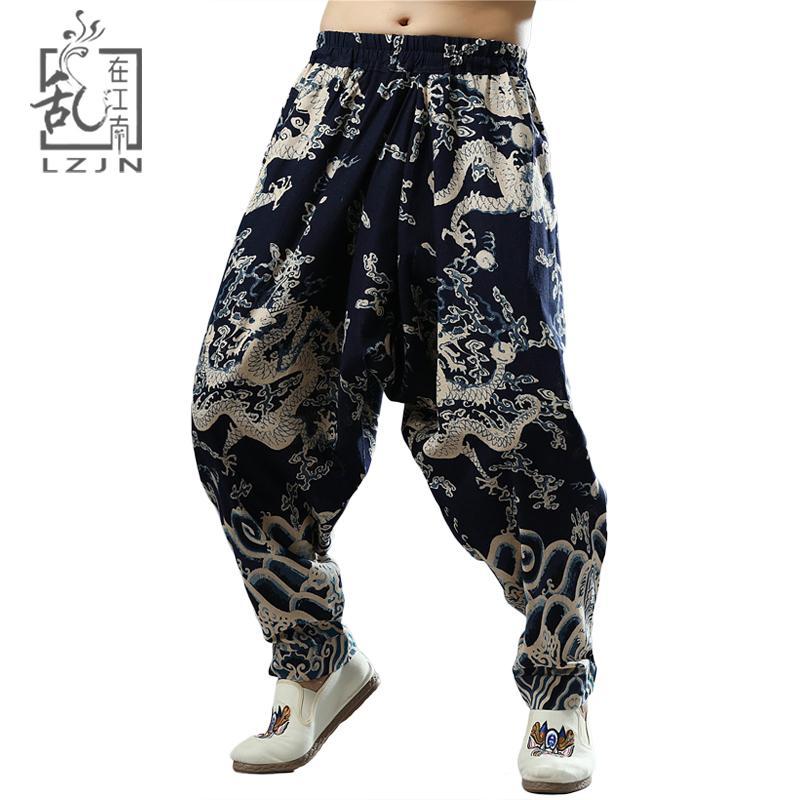 5fce80fc7cb4 2019 LZJN India Nepal Loose Cross Pants Men Elastic Waist Hip Hop Joggers  Chinese Dragon Harem Pants Cotton Flax Ethnic Long Trousers From Edwiin04,  ...