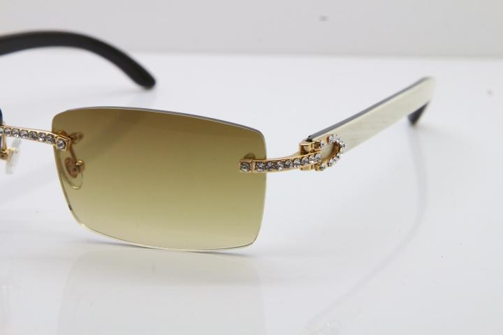 2020 새로운 무테 작은 큰 돌 3524012 화이트 내부 블랙 버팔로 경적 선글라스 한정 태양 안경 18K 골드 뜨거운 안경
