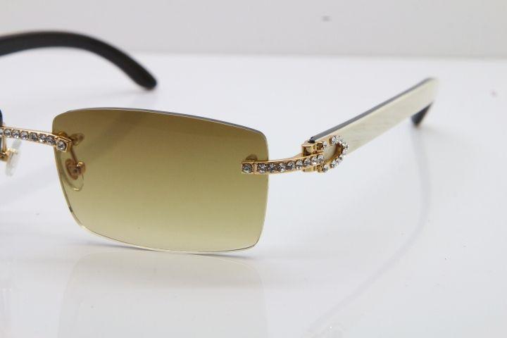 2020 Nuovo Senza Montatura più piccolo grandi pietre 3524012 bianco All'Interno Nero Corno di bufalo Occhiali Da Sole In Edizione Limitata occhiali da sole 18 K Oro Hot Occhiali Da Vista