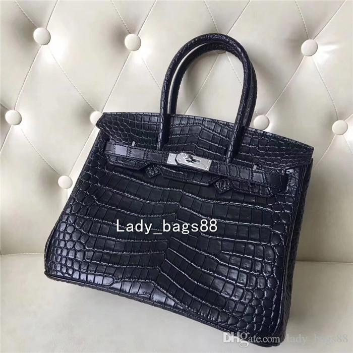 0e7766d2d95 2018 Fashion Designer Luxury Women Large Alligator Handbags Crocodile  Pattern Tote Bag Purse Double Top Handles Leather Designer Clutch Bag