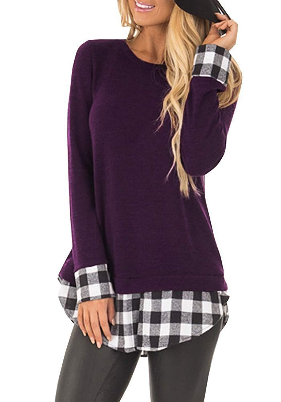 8257ece46ba 2019 Womens Tunic Tops Plaid Hem Crew Neck Casual Long Sleeve T Shirt Blouse  From Zclxuewu
