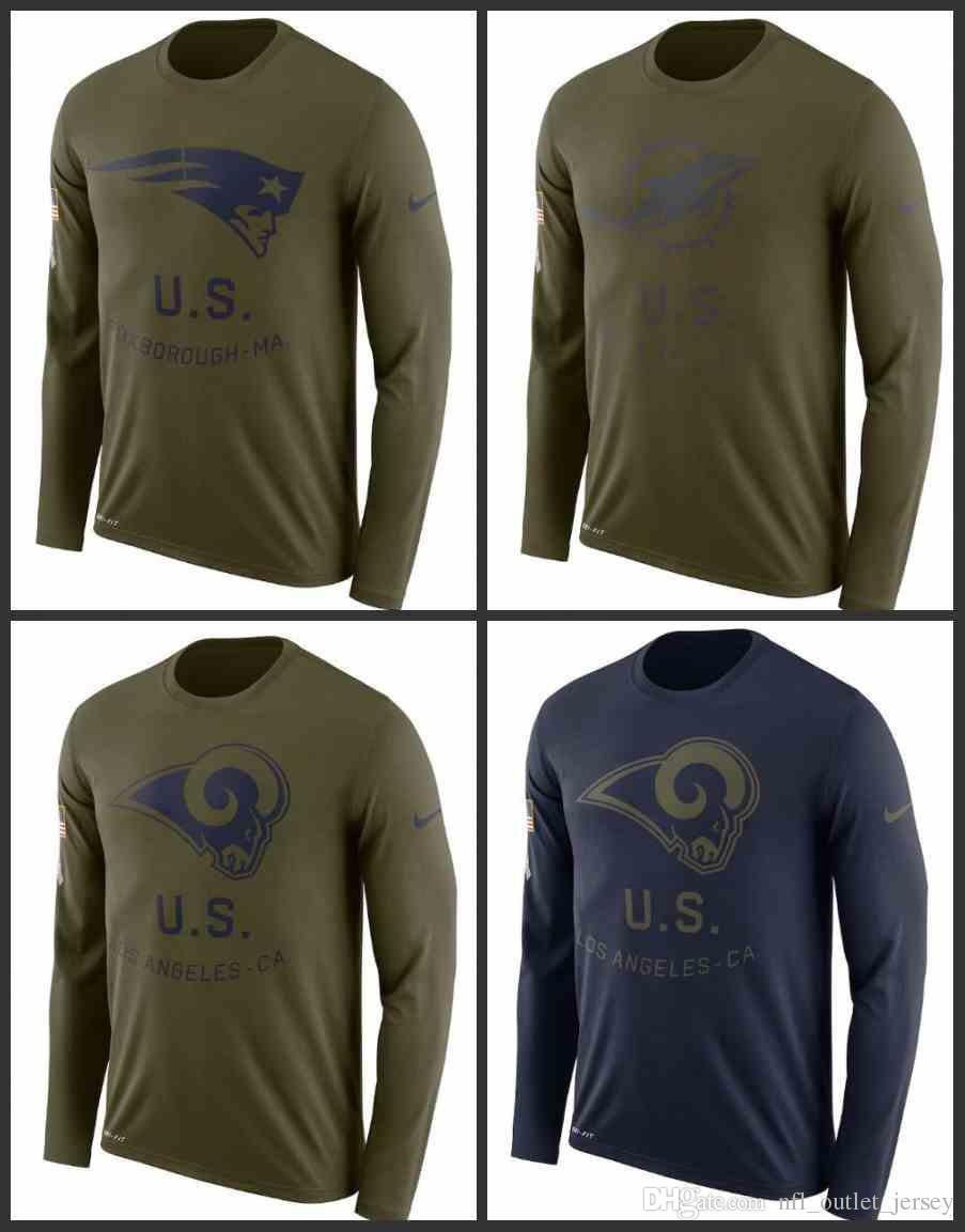 Compre New England Patriots Miami Dolphins Los Angeles Rams Hombres Saludar  Al Servicio Sideline Legend Performance Camiseta De Manga Larga Verde Oliva  A ... f9ae6a6d5