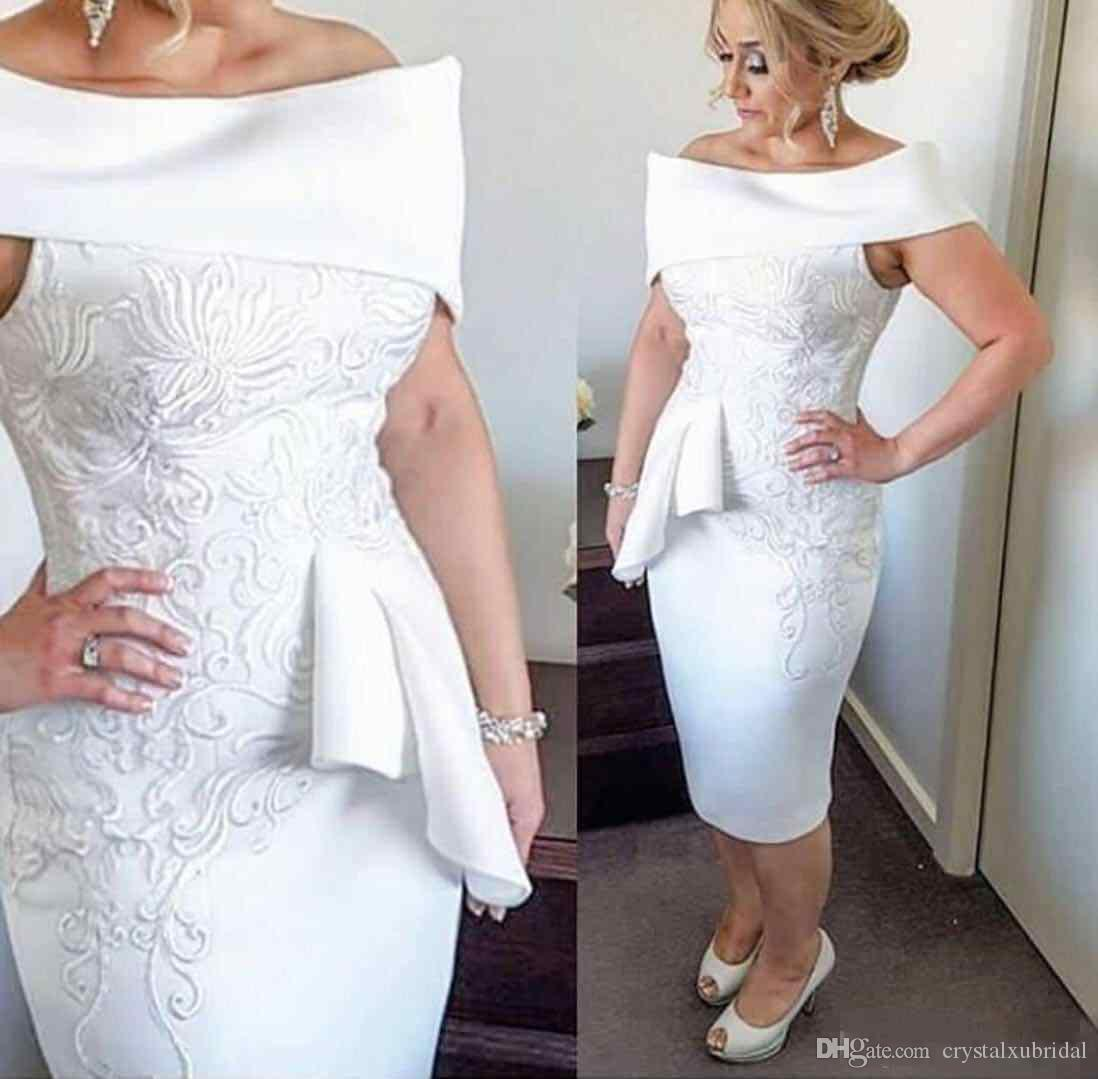 eabe057cb2d 2018 White Short Mother Of The Bride Dresses Off Shoulder 3D Floral Lace  Applique Peplum Tea Length Satin Sheath Evening Wear Prom Gowns Clearance  Mother Of ...