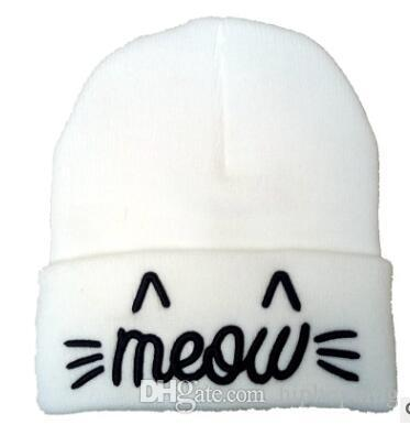 Brand New MEOW Beanie Winter Hats For Women Mens Autumn Cap Letters Printed Beanies  Hat Hip Hop Cotton Knitted Casual Caps Ladies Hats Crazy Hats From ... b5da71d725f