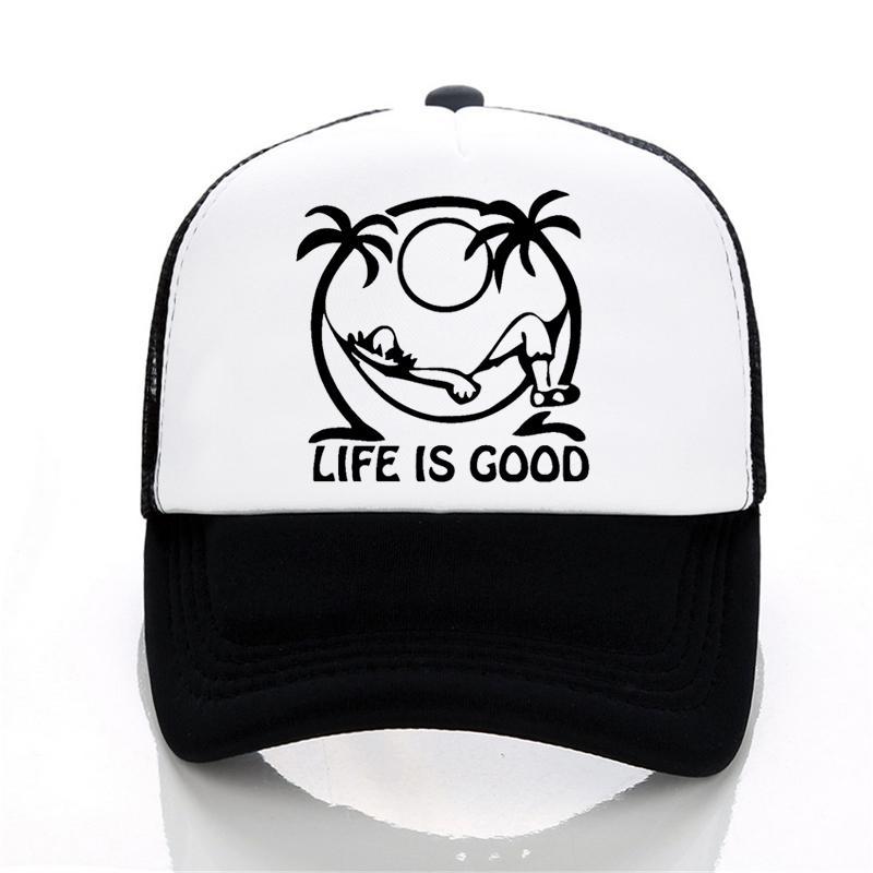 fashion life is good Men and women Baseball caps Casual letter print  Cartoon hat summer adjustable Mesh trucker cap